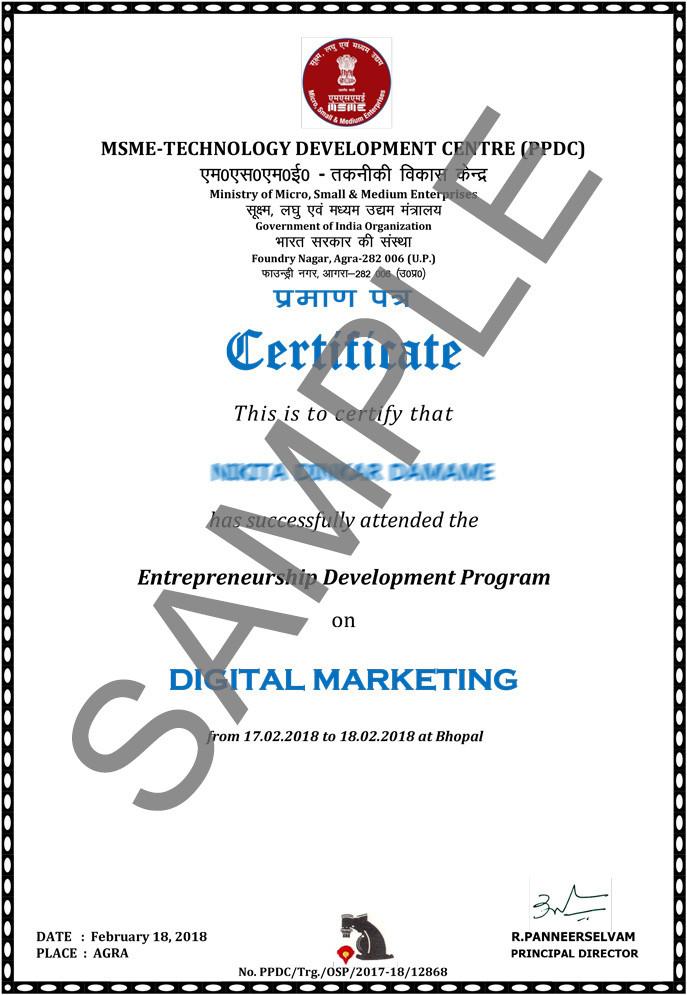 MSME Certificate Digital Marketing